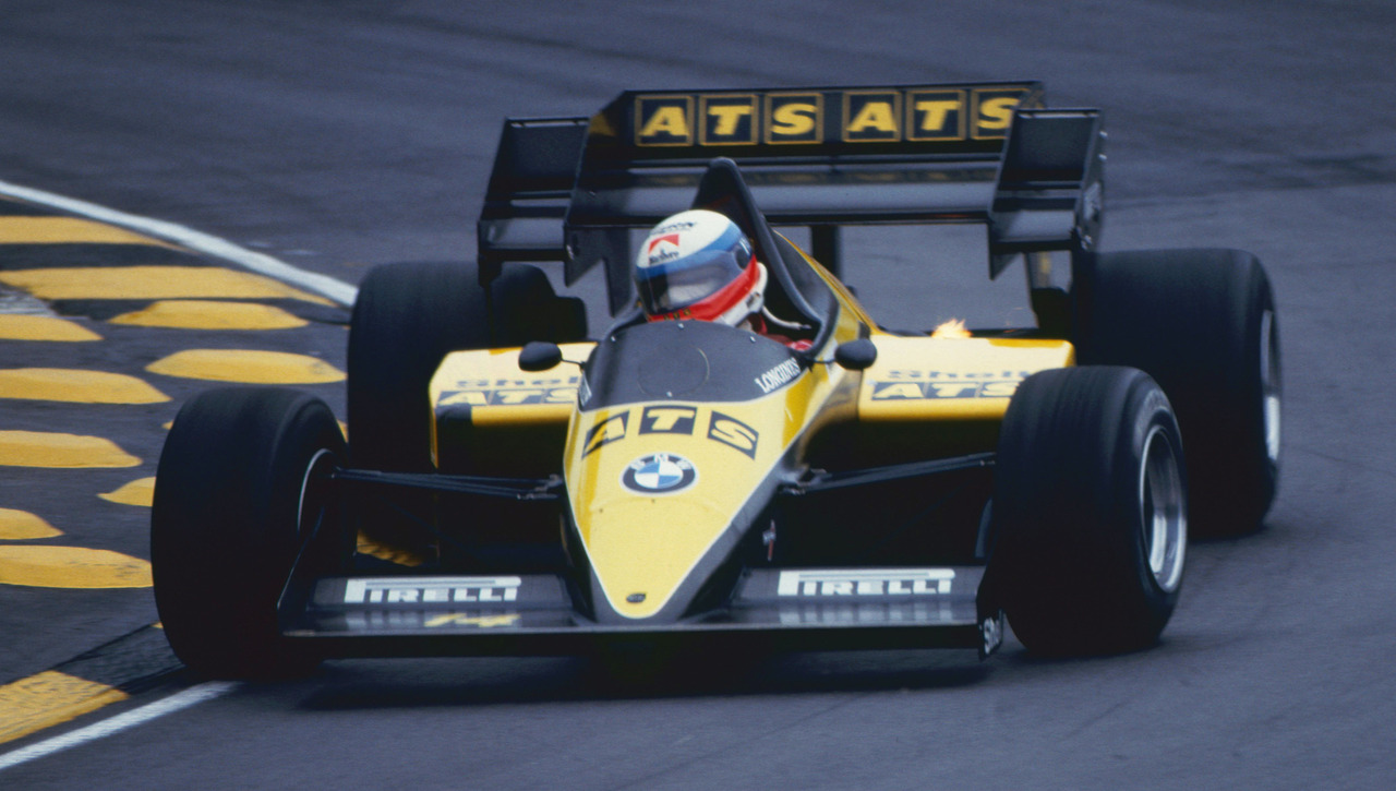 Manfred Winkelhock Driving the ATS/BMW in Practice at Brands Hat