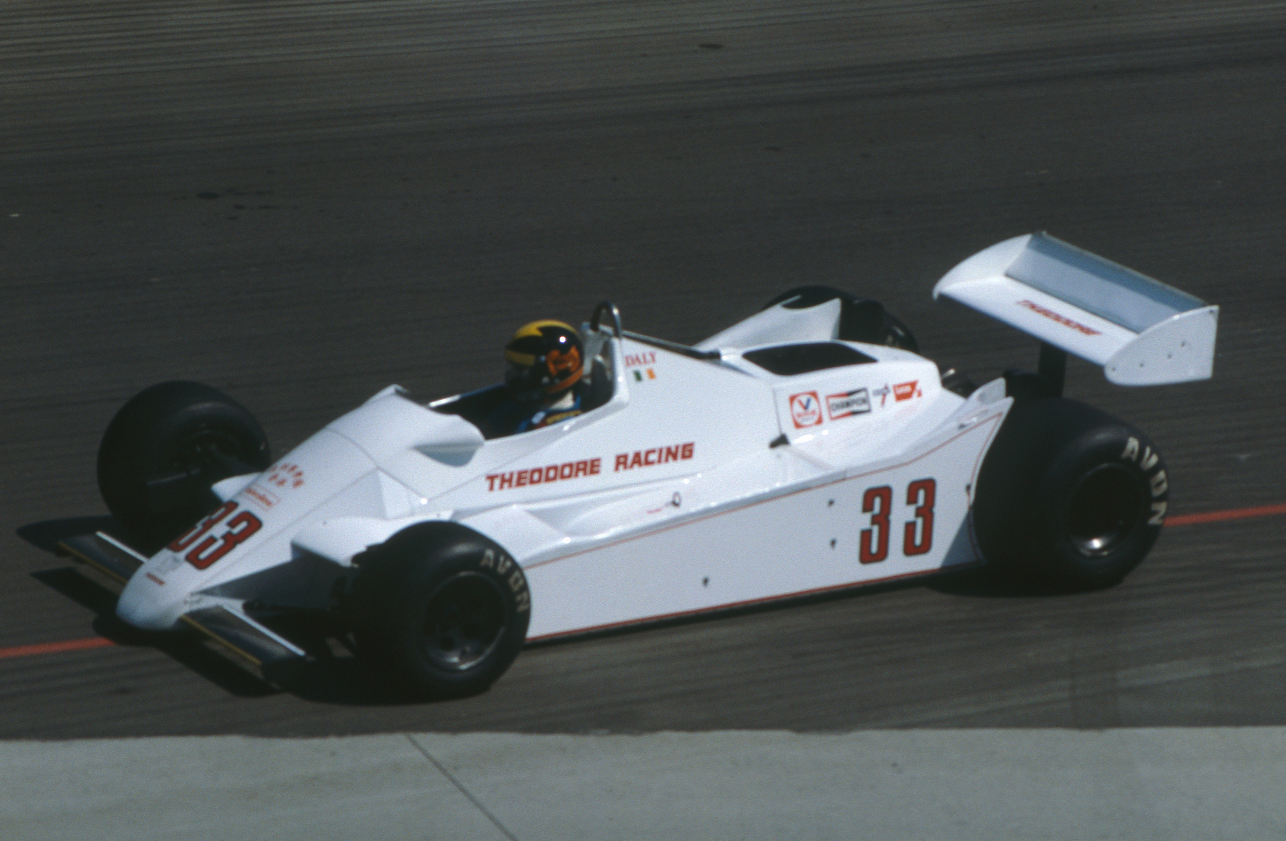 Derek Daly Qualifying the Theodore in the Long Beach GP 1982