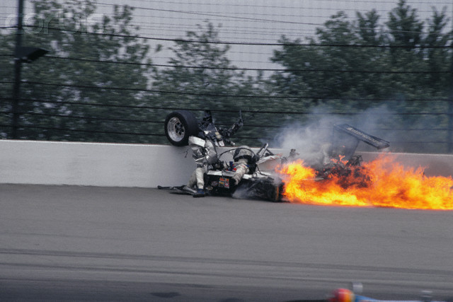 Wreckage of Burning Racing Car